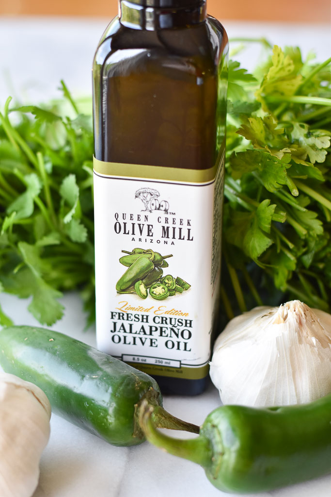 A bottle of Fresh Crush Jalapeno Olive Oil from Queen Creek Olive Mill