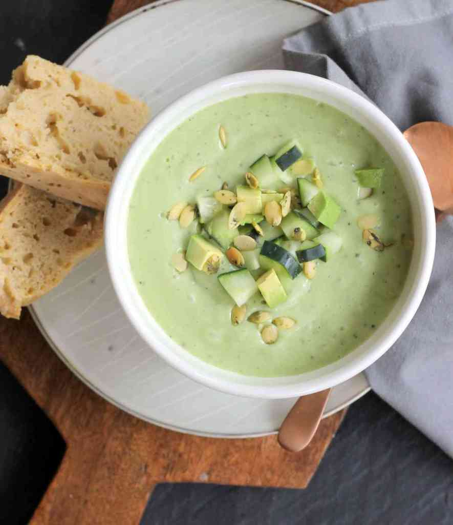 Cucumber Avocado Soup with Ginger by Organically Mandy. Minnesota Summer