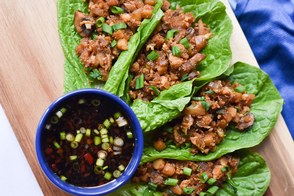Vegan Lettuce Wraps with Dipping Sauce Close Up