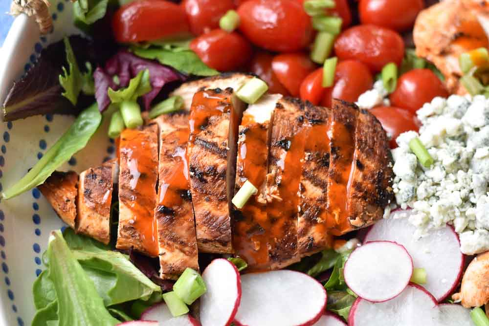 Grilled Buffalo Chicken Salad close up