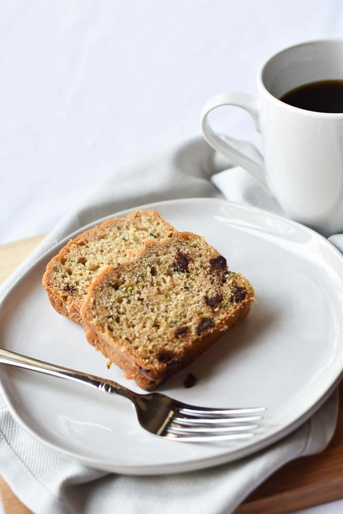 Chocolate Chip Zucchini Bread on a plate