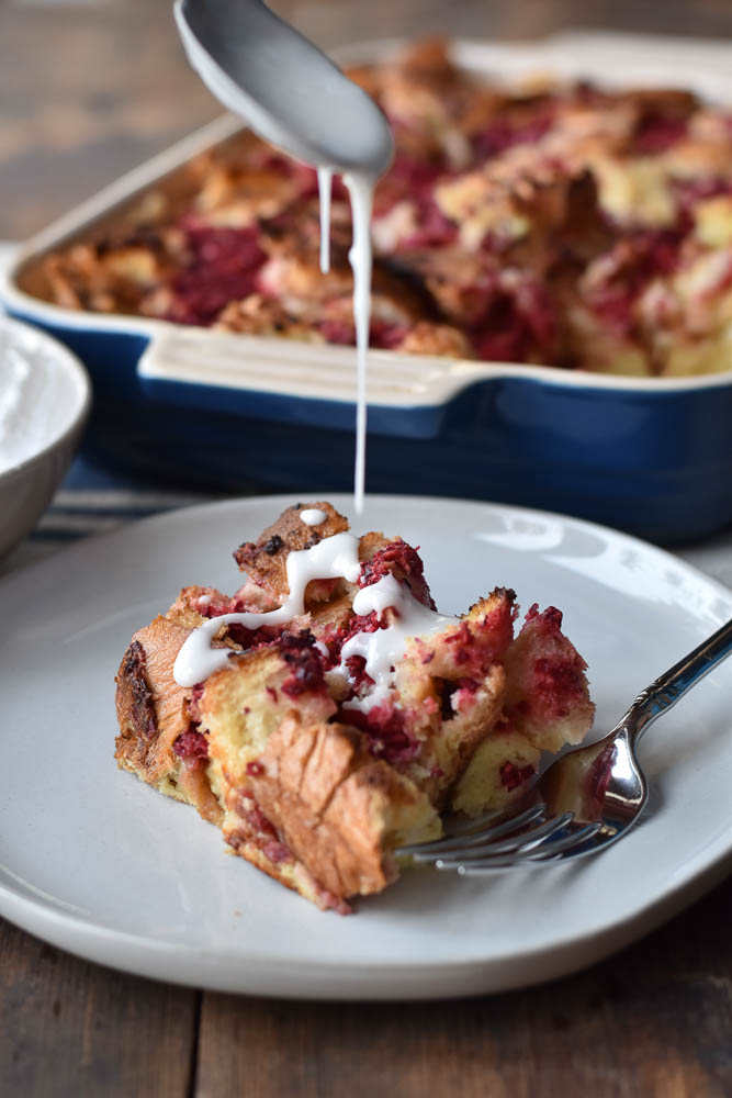 Cranberry Orange French Toast Bake with orange glaze drizzle