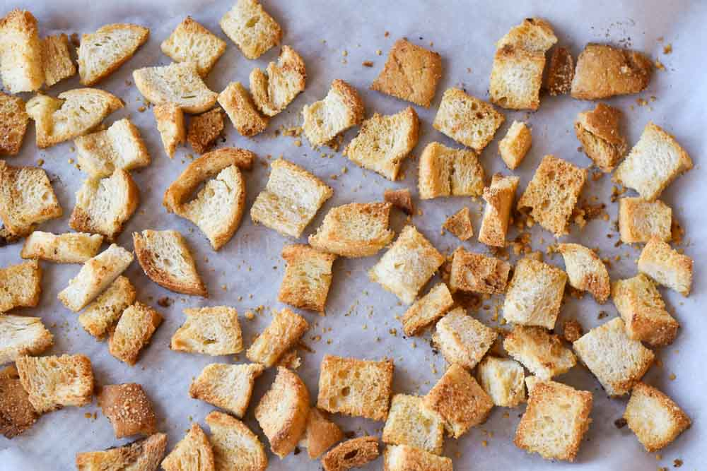 Easy Brown Butter Parmesan Croutons on a sheet pan.