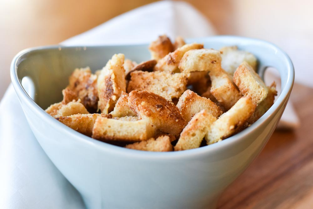 Easy Brown Butter Parmesan Croutons in a bowl photo