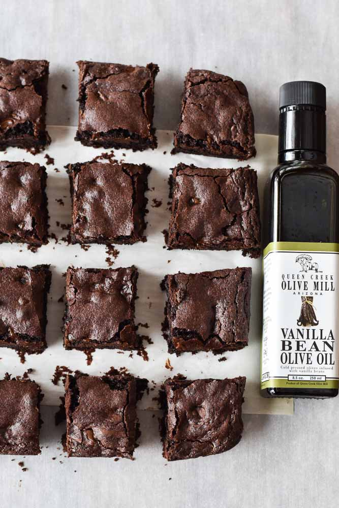 Double Chocolate Olive Oil Brownies in squares with Queen Creek Olive Oil