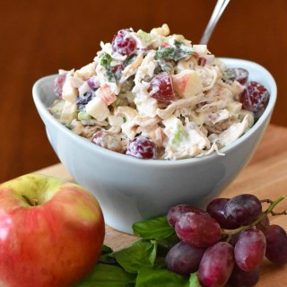 Waldorf Chicken Salad verticle with fruit.