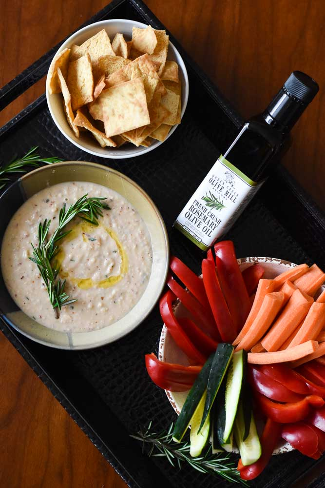 Lemon Rosemary White Bean Dip in a tray