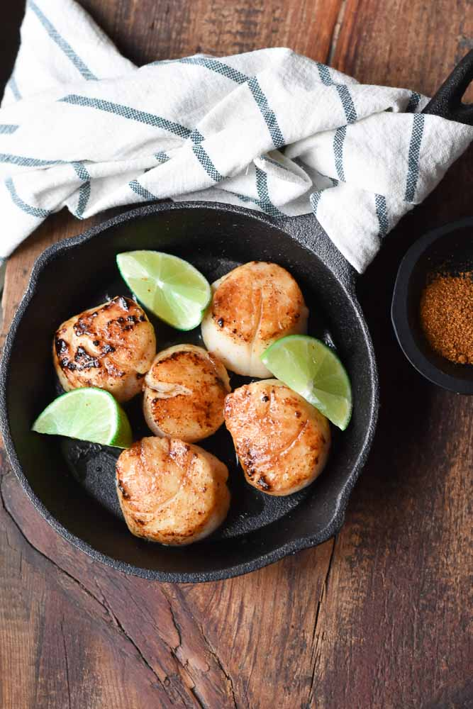 Maple Glazed Seared Scallops in a cast iron skillet