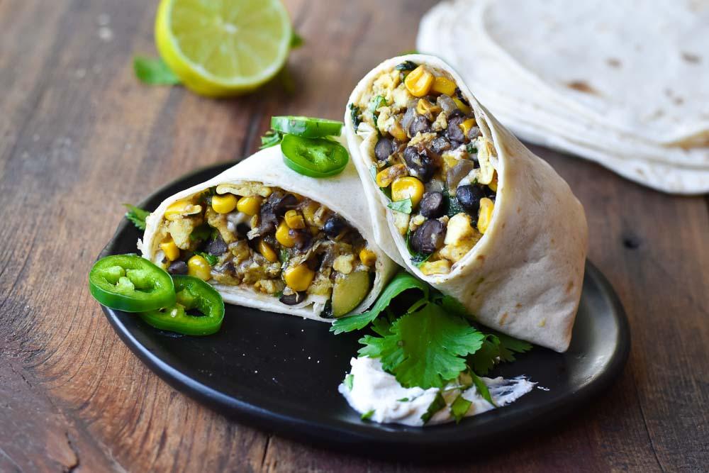 Summer Vegetable Breakfast Burritos on a plate