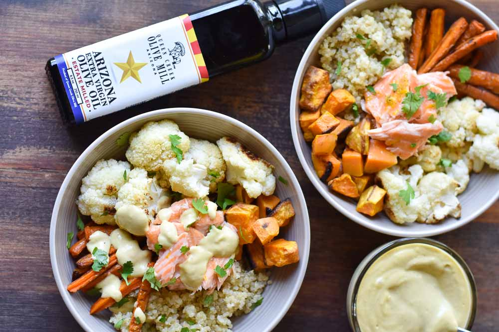 Harvest Salmon Quinoa Bowls with Lemon Tahini Dressing
