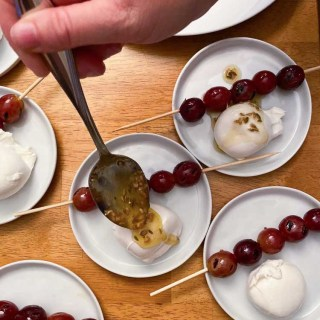 Grilled Grapes and Burrata