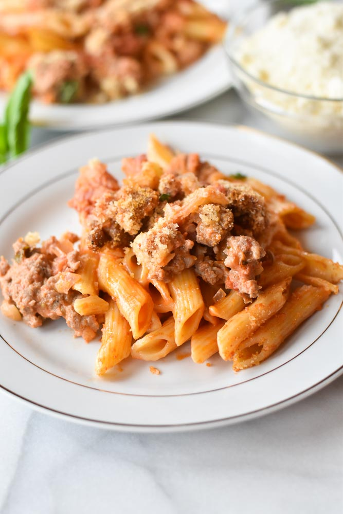 A plate of the creamy sausage pasta bake