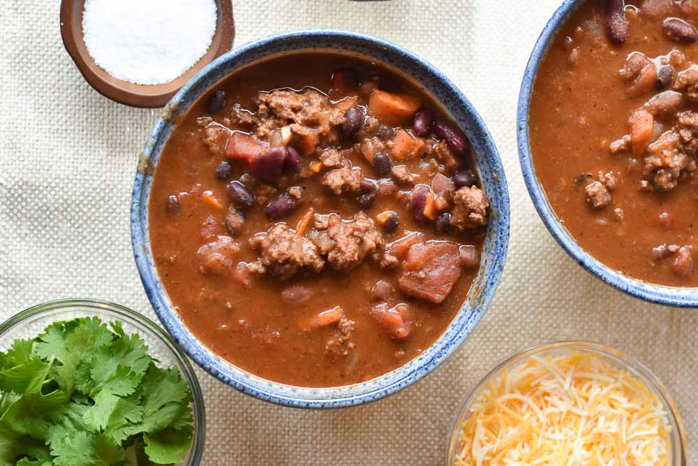 Instant Pot Chipotle Beef Chili close up