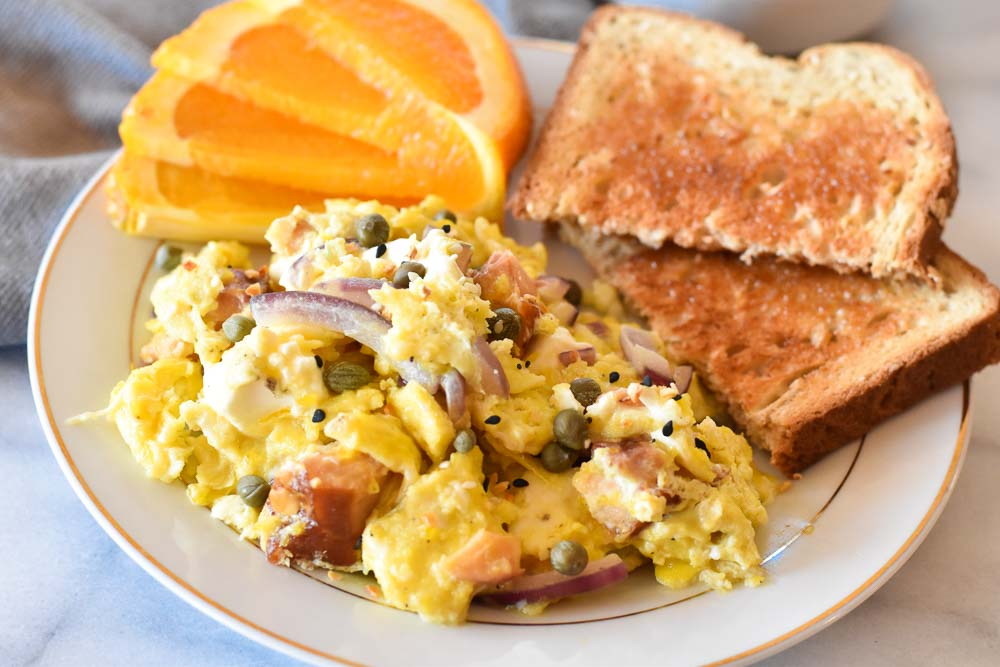 Salmon Breakfast Scramble on a plate