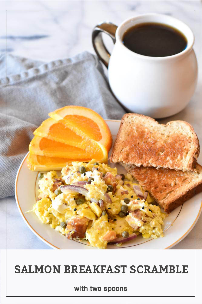 Salmon Breakfast Scramble on a plate with coffee Pinterest Long Pin