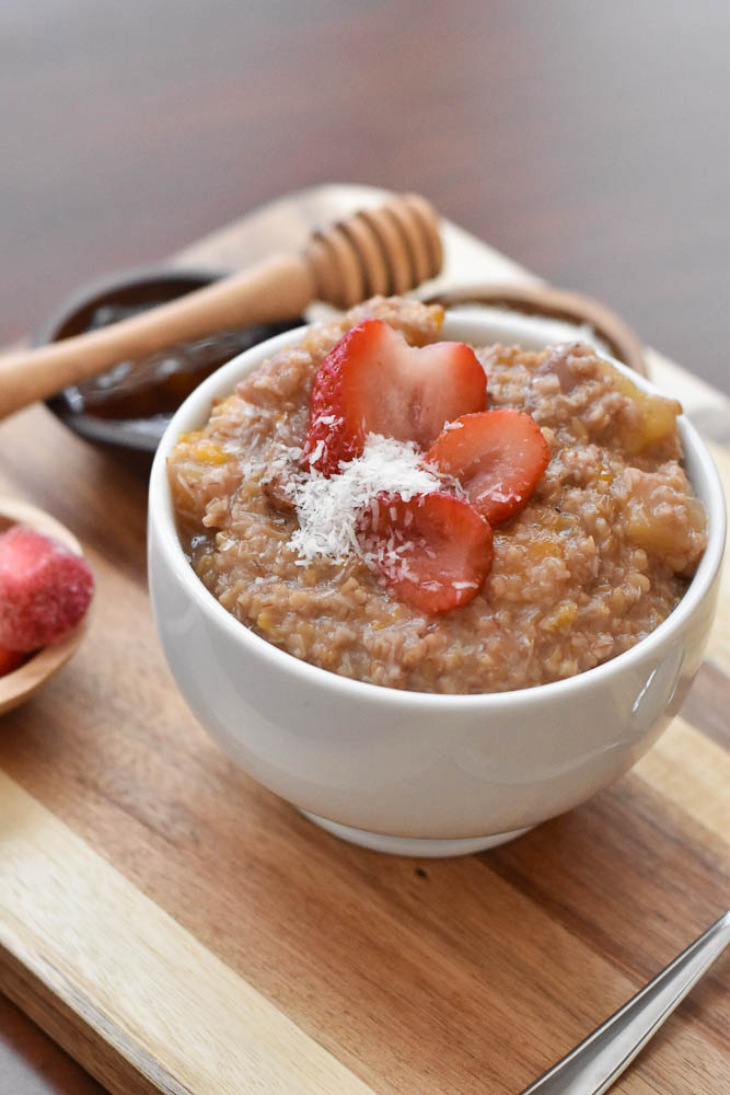 A side view of Instant Pot Tropical Steel Cut Oats