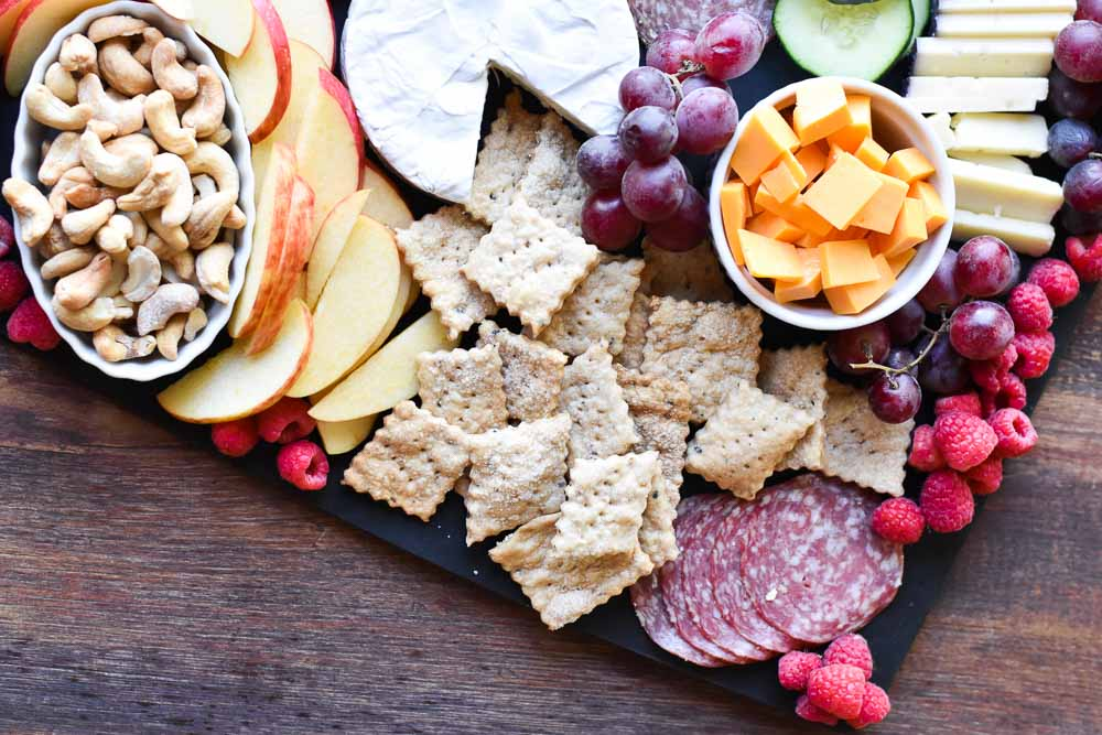 Everything but the Bagel Sourdough Crackers as part of a snack tray