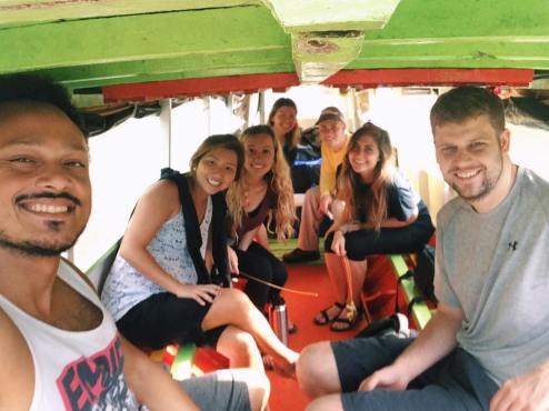 On the boat, headed back to the base after visiting our first community. PC: Xenia Itikawa