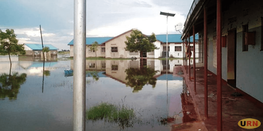 The submerged Butiaba Health Center III together with the staff quarters. The staff are protesting lack of accomodation after their former premises were submerged