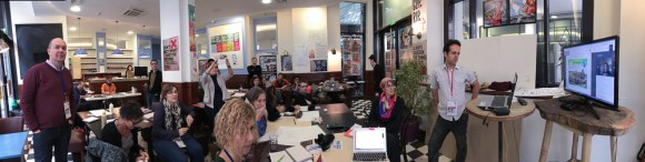 "A panorama of the Balm of Nature Workshop participants during a skype call with Australian ""Solar Punk"" author Caroline Rental."
