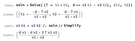 T = เวลาที่รถชนกัน d = ตำแหน่งที่รถขนกัน t1 = เวลาทั้งหมดที่บินไปทางขวา t2 = เวลาทั้งหมดที่บินไปทางซ้าย