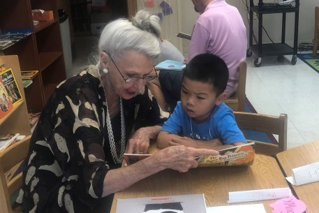 Virginia reading with a WITS student