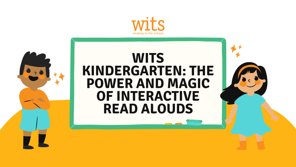 Text Reads - WITS Kindergarten: The Power and Magic of Interactive Read Alouds, two students stand smiling on a yellow hill