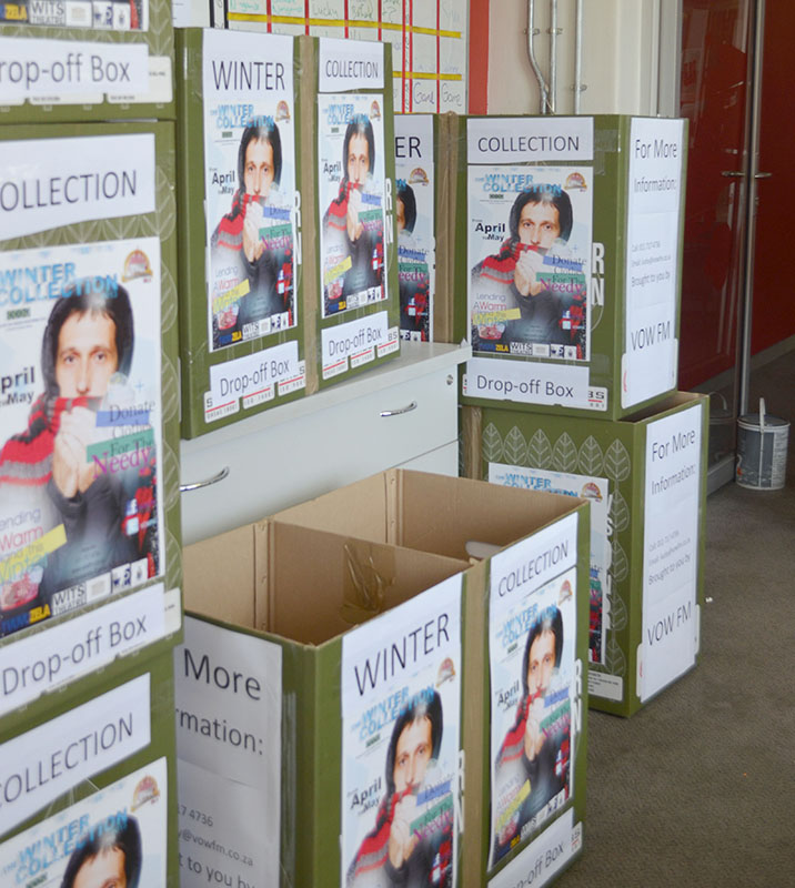 DROP HERE: Vow FM has placed these collection boxes for winter clothing all over campus. Photo: Pheladi Sethusa