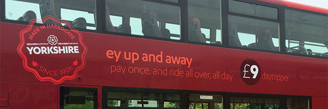 An example of The Harrogate Bus Company's use of local dialect.