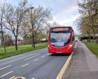 An approaching CITYREDS Streetlite on route 13
