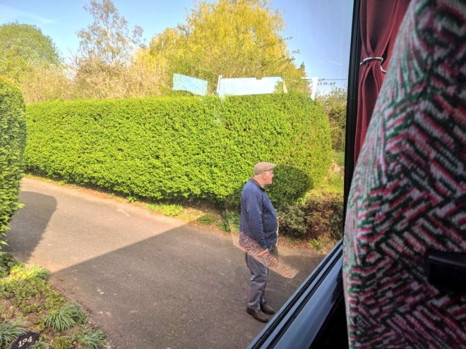 Dropping off a passenger at his front door on Mervyn's Coaches route 95