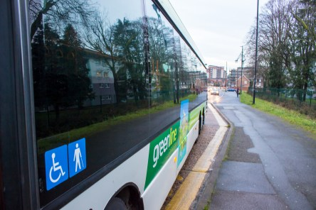 Greenline from Reading Buses - Omnicity - Side view close up at McDonalds