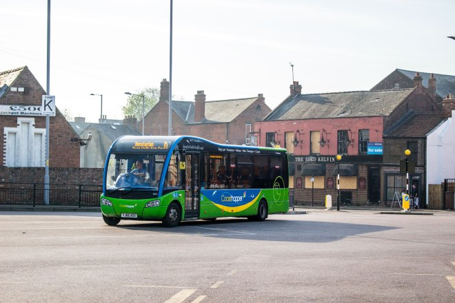 A Coasthopper branded Optare Solo SR seen in King's Lynn bus station before heading to Hunstanton