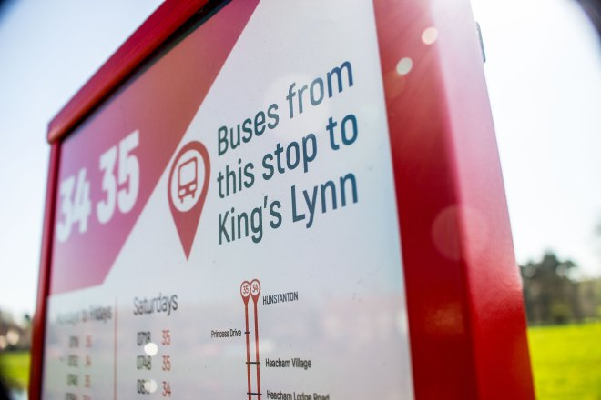 Bus stop branding from Lynx for their Lynn to Hunstanton services