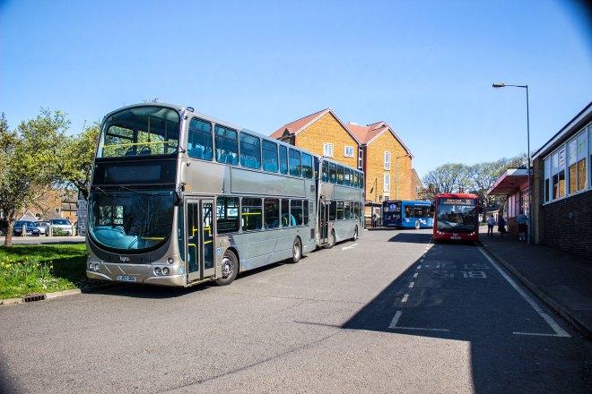 Lynx branded DAF Geminis waiting in Hunstanton between school bus duties