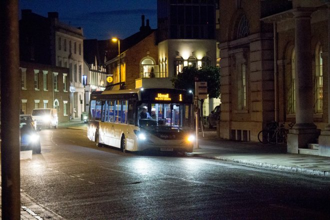 King's City branded Enviro 200 MMC operating in central Winchester headed for Winnall on Stagecoach South's route 1