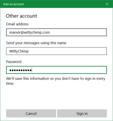 Custom Mail Setup - Mail Login Settings