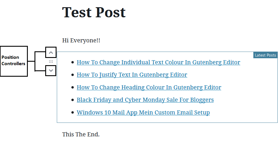Changing The Settings(2) to Add Latest Posts Links In Gutenberg Editor