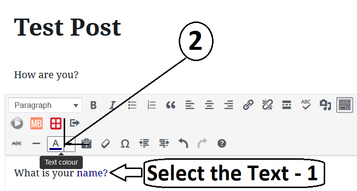 Formatting The Block to Change Individual Text Colour In Gutenberg Editor
