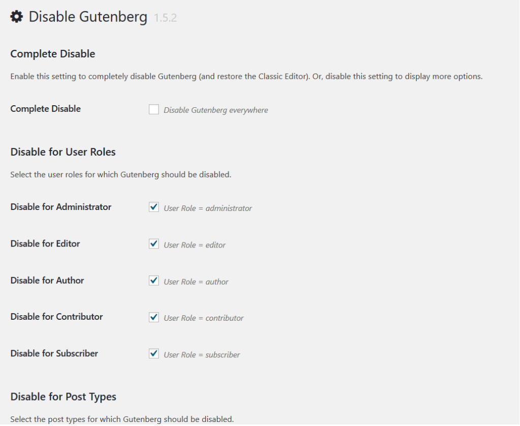 Using Disable Gutenberg Plugin