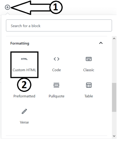 Adding the Custom HTML block to Embed YouTube Video In Gutenberg Editor