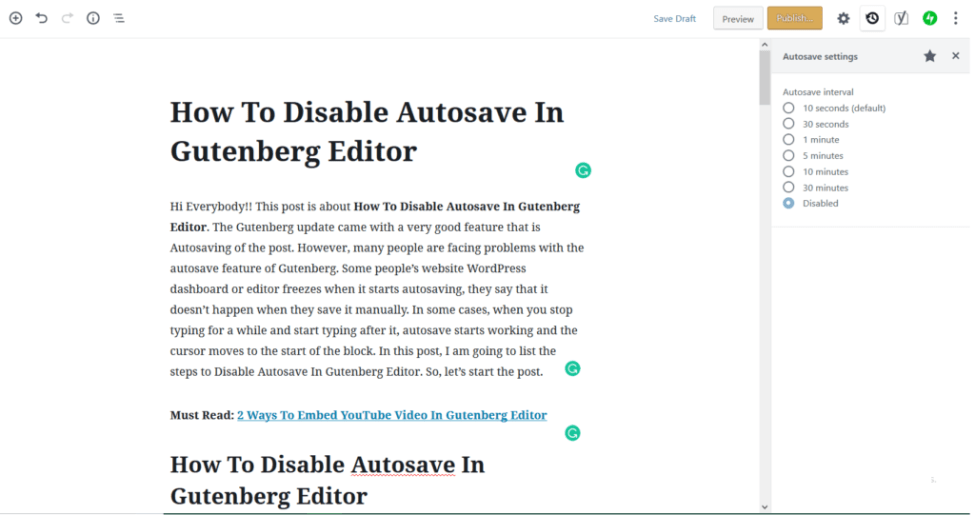 Disable Autosave In Gutenberg