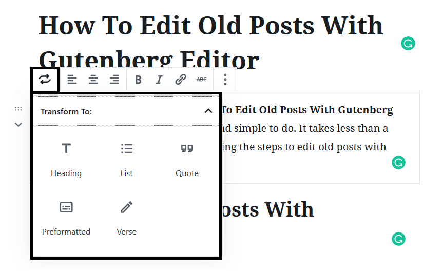 Transforming Blocks to Edit Old Posts With Gutenberg Editor