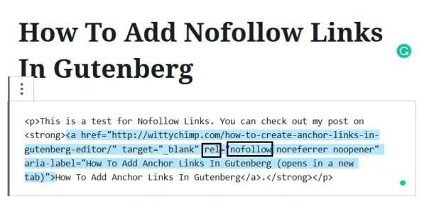 Add Nofollow Links In Gutenberg