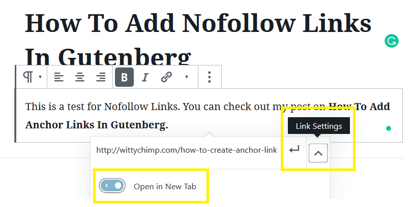 Editing Link Settings To Add Nofollow Links In Gutenberg