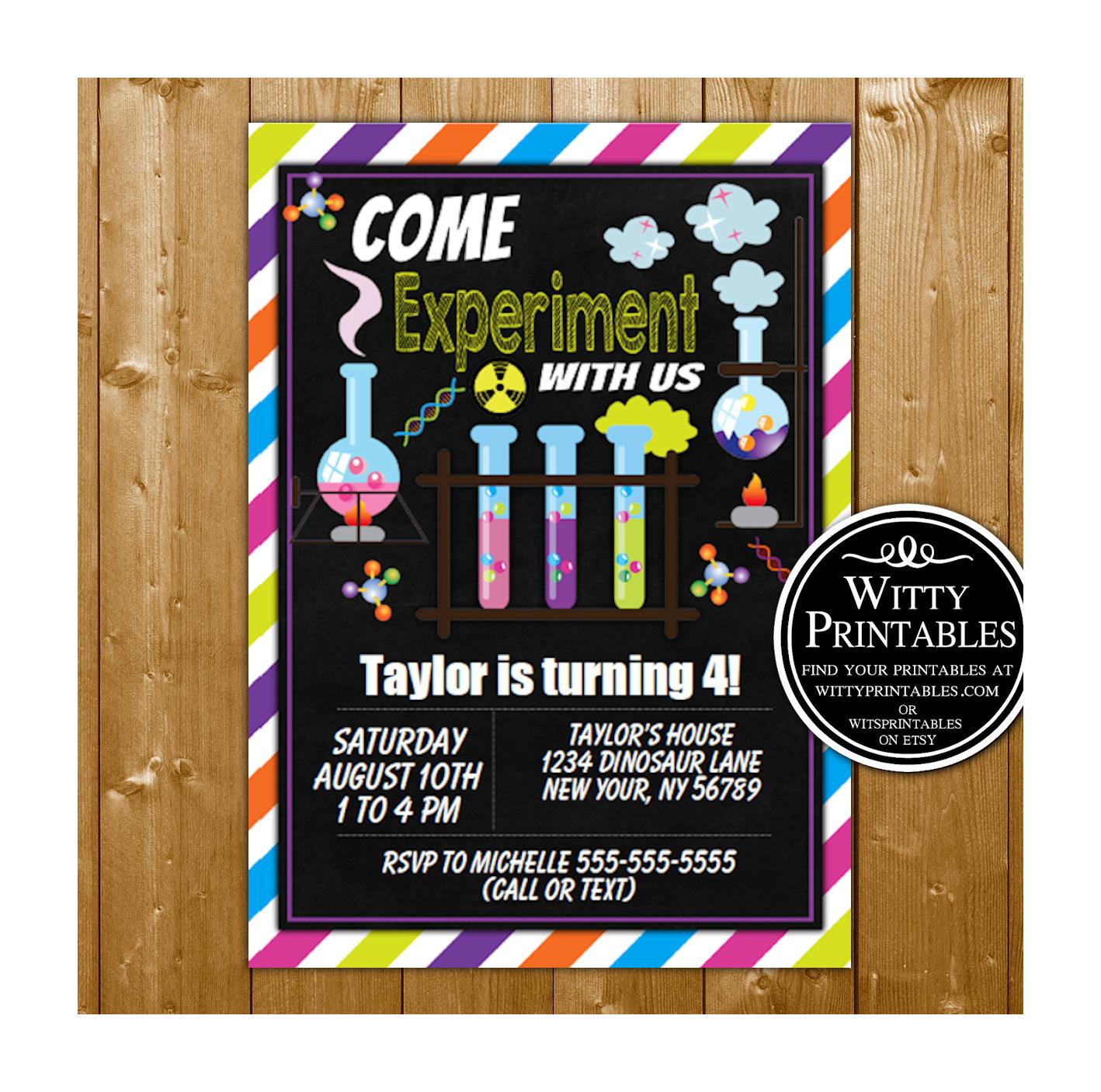 science fun party invitation printable digital download birthday party invite