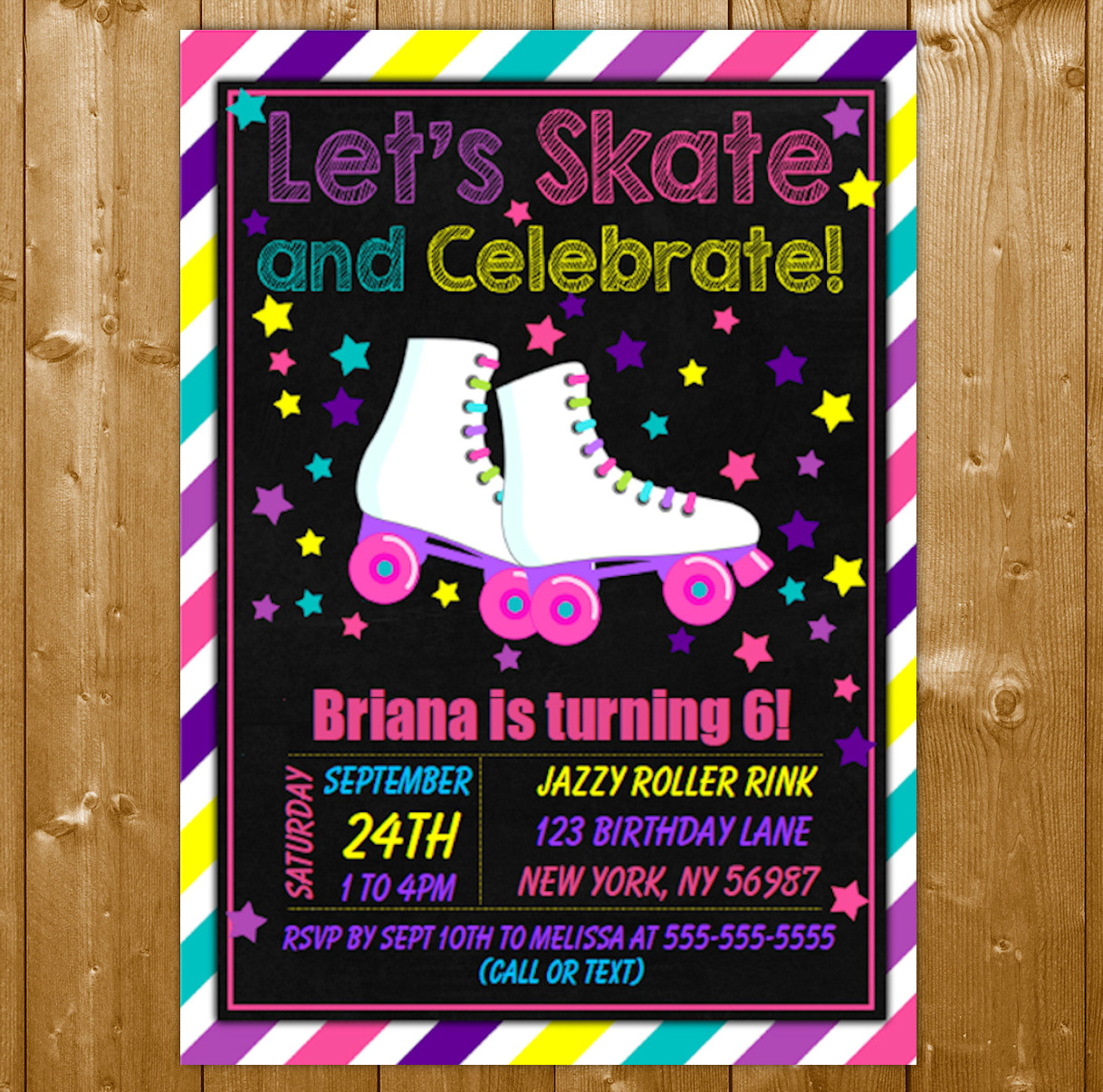 roller skating party invitation printable digital download birthday party invite
