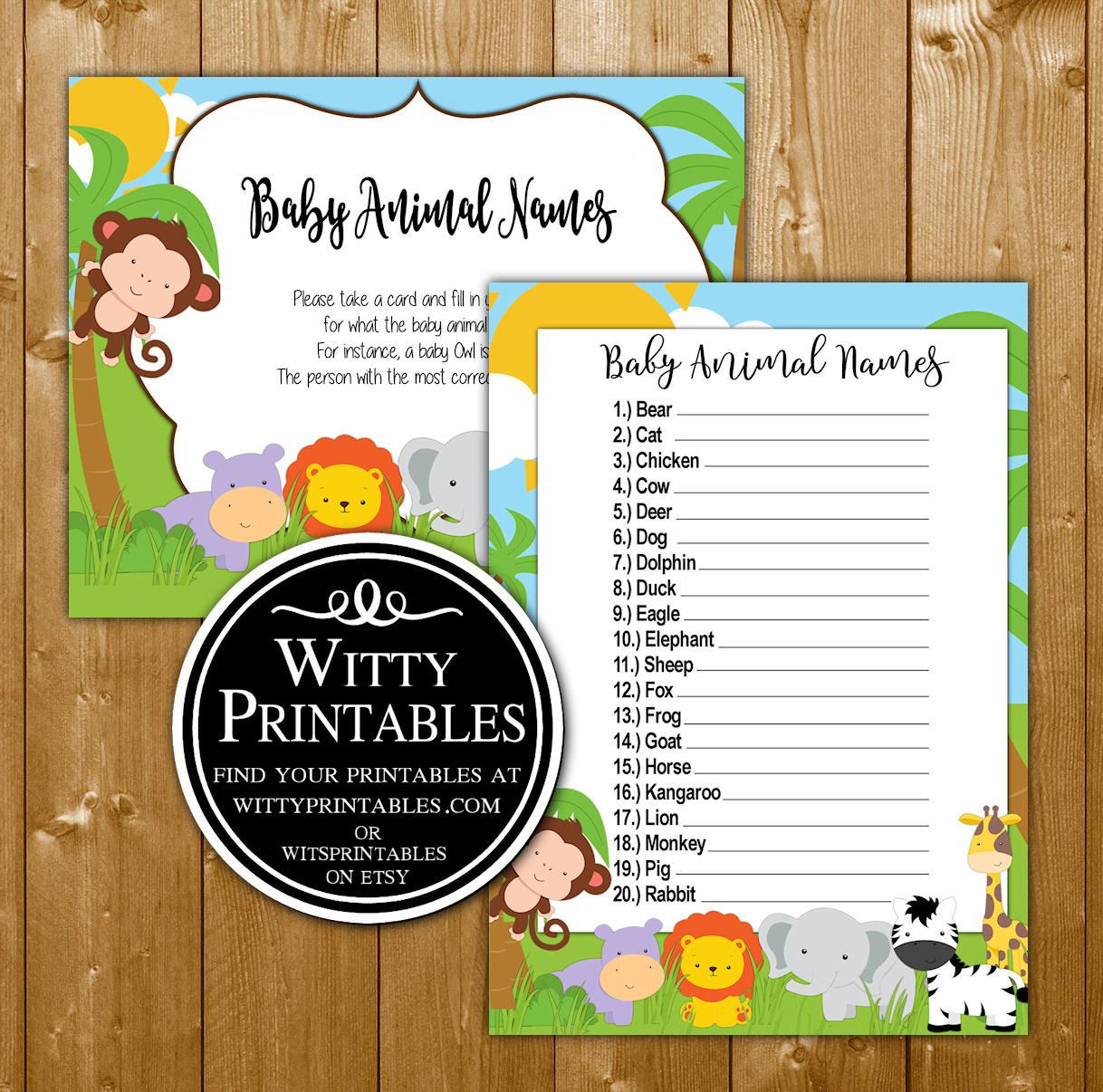 Safari Baby Shower Game Baby Animal Names