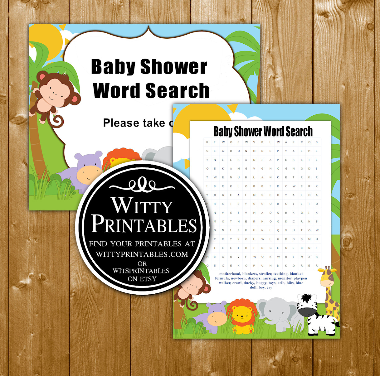 Safari Animals Baby Shower Game Word Search