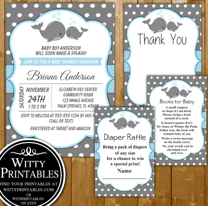 Baby Shower Invitation Set Blue Whales For A Boy Books Diaper Raffle And Thank You